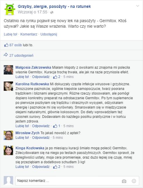 Opinie odnośnie stosowania suplementu na forum facebooka