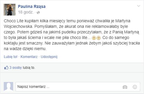 opinie o Choco Lite na Facebooku